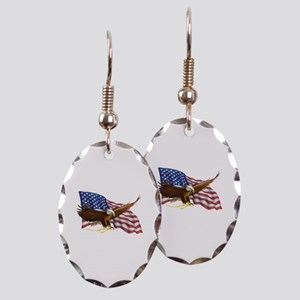 American Flag and Eagle Earring Oval Charm