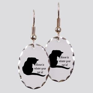 Home Cat Earring Oval Charm