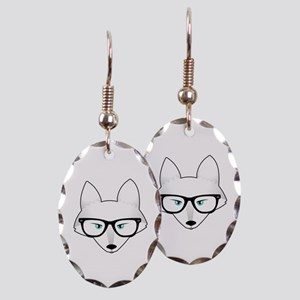 Cute Arctic Fox with Glasses Earring Oval Charm