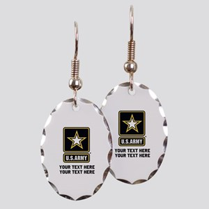 US Army Star Earring Oval Charm
