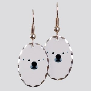 Polar Bear Face Earring Oval Charm