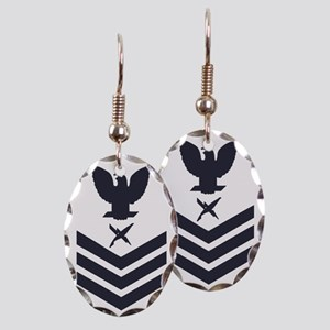 USCG-Rank-IS1-Blue-Crow- Earring Oval Charm