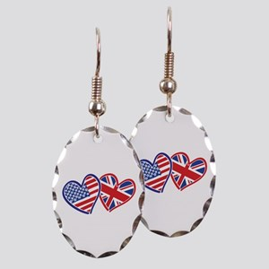 Patriotic Peace Sign and USA Flag Earring Oval Cha