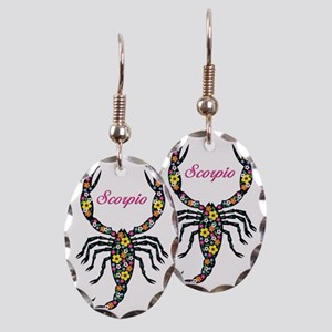 flowered scorpion thong Earring Oval Charm