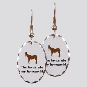 The Horse ate my homework Earring Oval Charm