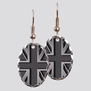 Union Jack Brushed Metal Earring Oval Charm