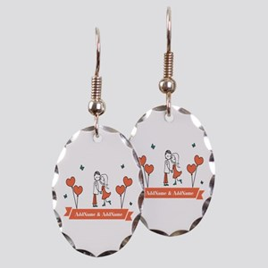 1a668b81b9 Personalized Names Couple Heart Earring Oval Charm