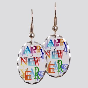 Happy New Years Trans Earring Oval Charm