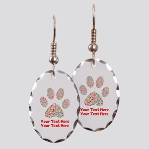 Dog Paw Print Customize Earring Oval Charm