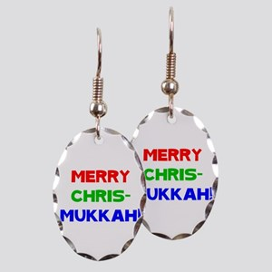 Merry Chrismukkah Earring Oval Charm