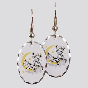 White Tigers - Earring Oval Charm