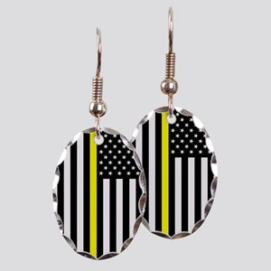 U.S. Flag: Thin Yellow Line Earring Oval Charm