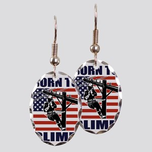 american power lineman electric Earring Oval Charm
