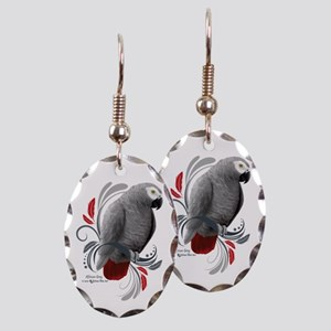 African Grey Earring Oval Charm