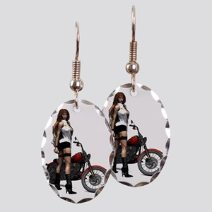 Biker_Girl_Road_Angel_notecard Earring Oval Charm