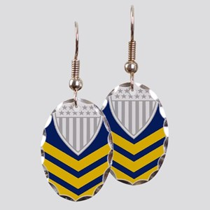 USCG-Rank-PO1-Journal-Embroider Earring Oval Charm