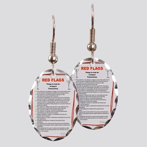RED FLAG 6 Earring Oval Charm