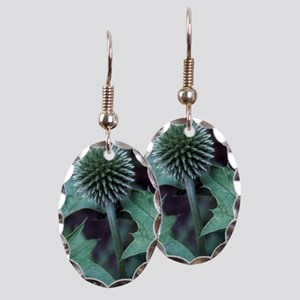 Globe thistle 'Veitch's Blue' Earring Oval Charm