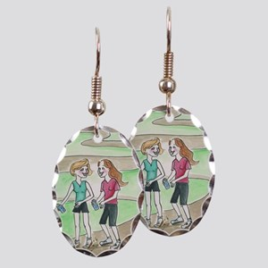 Friendly Walk Earring Oval Charm