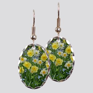 Yellow spring daffodils Earring Oval Charm