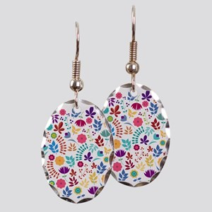 Cute Whimsical Floral Boho Chic Earring Oval Charm