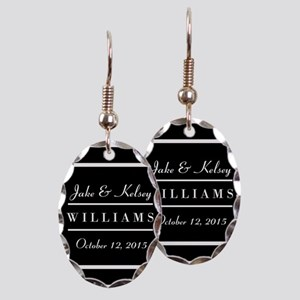 f1db9a2840 Personalized Black and White Fa Earring Oval Charm
