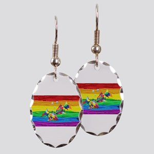 PICES Gay Rainbow Art Earring Oval Charm