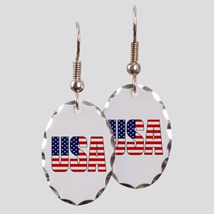 USA Flag Earring Oval Charm