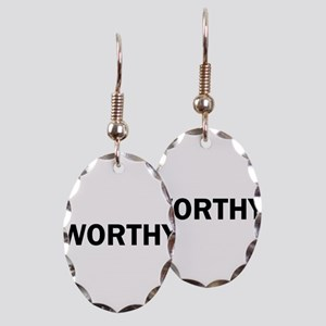 Worthy Bold Inspiration Motivat Earring Oval Charm