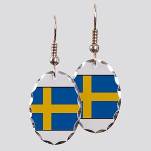 Sweden - Swedish Flag Earring Oval Charm