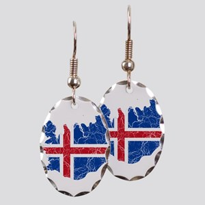 Iceland Flag And Map Earring Oval Charm