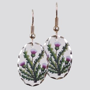 scottish thistle Earring Oval Charm