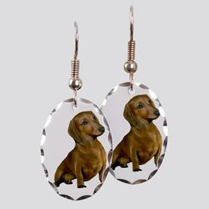 Brown / Red Dachshund Earring Oval Charm