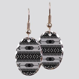 Black And White Aztec Pattern Earring Oval Charm