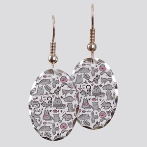 Whimsical Cartoon Cat Pattern Earring Oval Charm