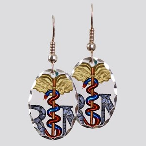 RN Caduceus Earring Oval Charm