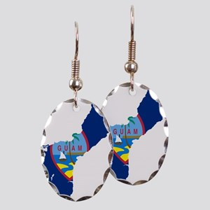 Guam Flag and Map Earring Oval Charm