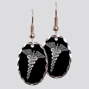 Caduceus Earring Oval Charm