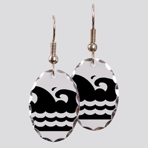 WAVES [black&white] Earring Oval Charm