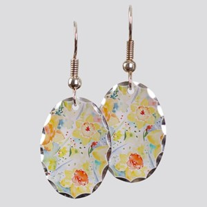 Watercolor Daffodils Pattern Earring Oval Charm