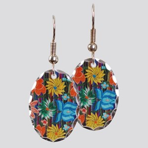 Mexican Flower Embroidery Earring Oval Charm