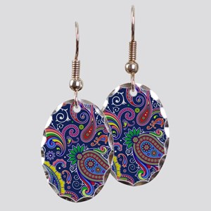 colorful paisley Earring Oval Charm