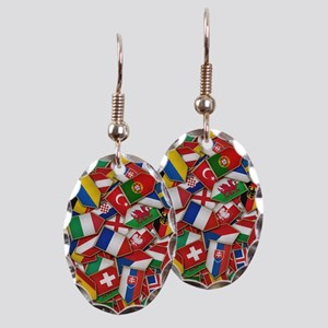 European Soccer Nations Flags Earring Oval Charm