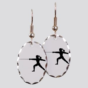 Girl Fencer Lunging Earring Oval Charm