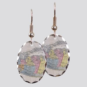 Vintage Map of Long Island New Earring Oval Charm
