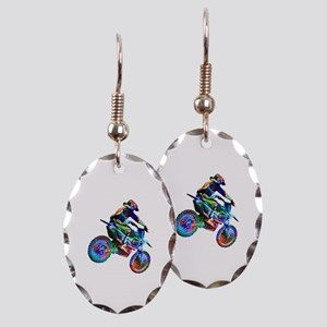 Super Crayon Colored Dirt Bike Earring Oval Charm