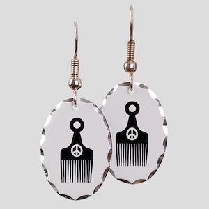 Afro Hair Peace Earring Oval Charm