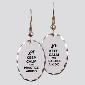 Keep calm and practice Aikido Earring Oval Charm