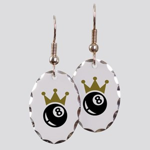 Eight ball billiards crown Earring Oval Charm
