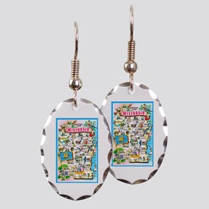 Wisconsin Map Greetings Earring Oval Charm